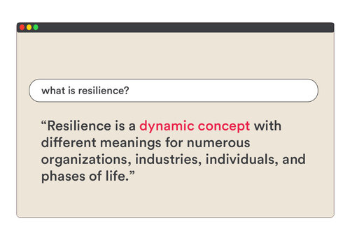 resilience is a dynamic concept with different meanings for numerous organizations, industries, individuals, and phases of life
